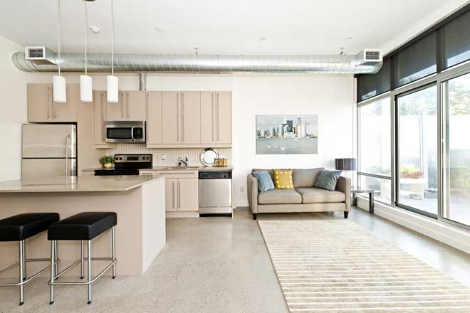 Kitchen with Concrete Floor and Rug