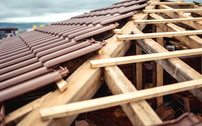 Brown Tile Roof under Construction