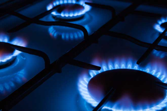 Gas Stove with Blue Flames