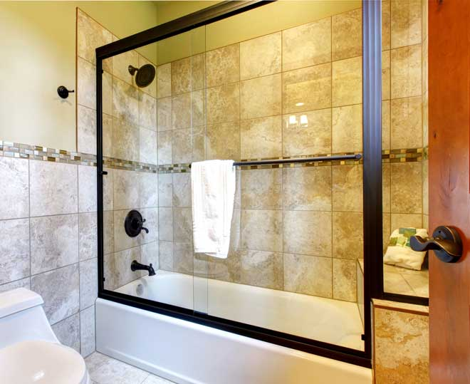 Stone Tile Lined Shower