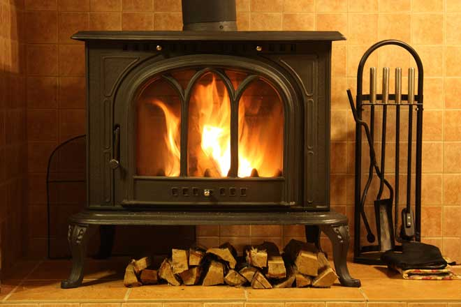 Fire Burning Inside Wood Stove