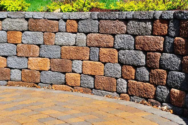 Colored Manufactured Block Retaining Wall