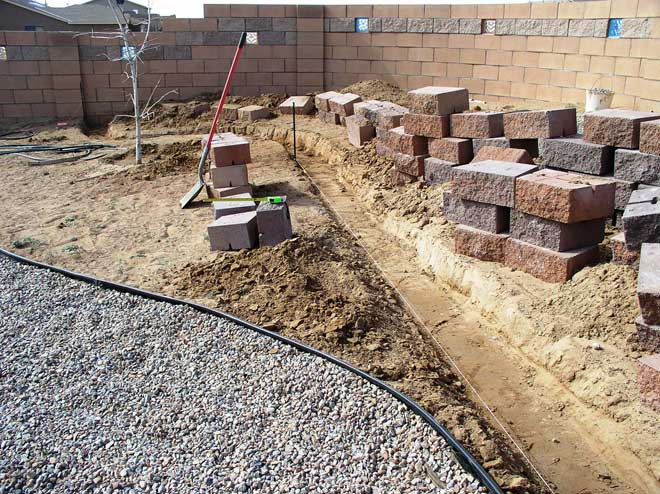 Retaining Wall Under Construction