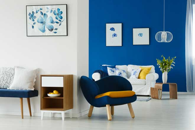 Blue Accent Wall in Living Room