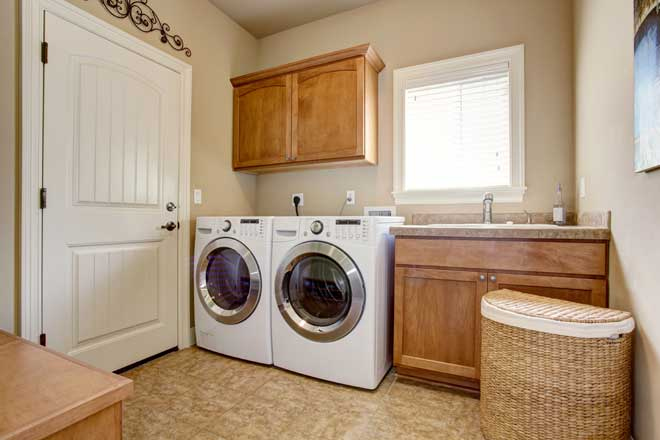 White Washer and Dryer in Laundry Room
