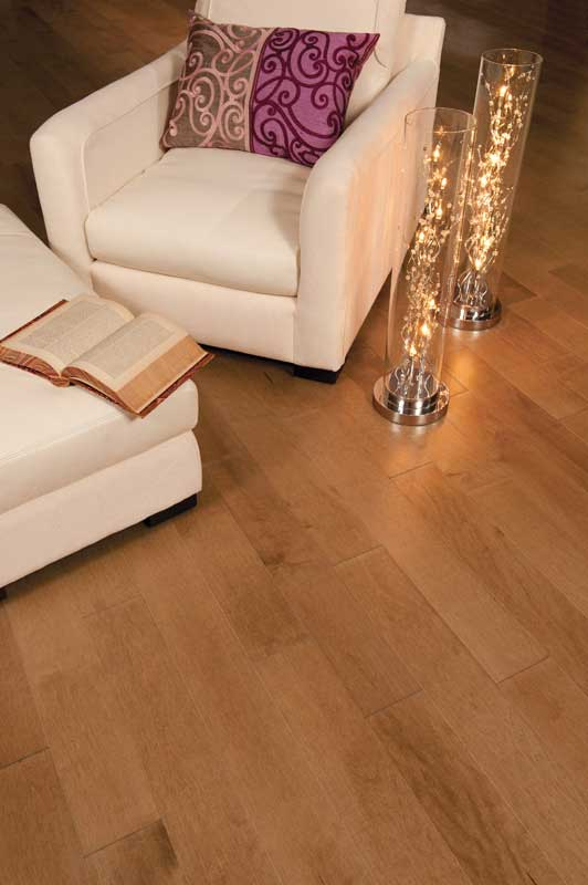 Maple Floor and Beige Sofa