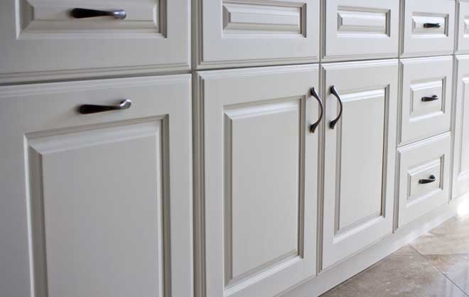 Closeup of White Kitchen Cabinets
