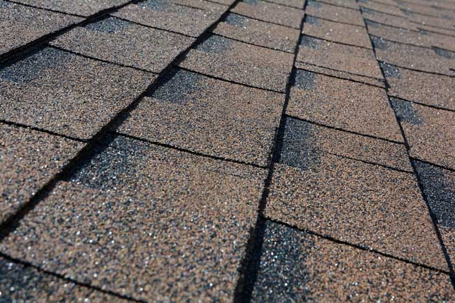 Close up View of Asphalt Roof Shingles