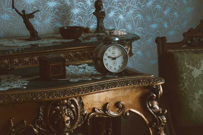 Vintage Table, Chair, and Clock