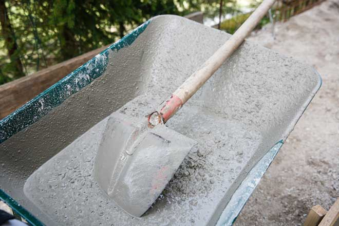 Wheelbarrow with Mixed Concrete