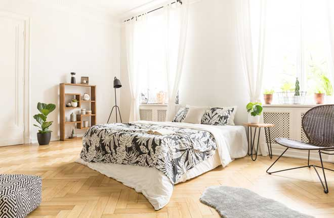 White Bedroom Interior with Throw Rug