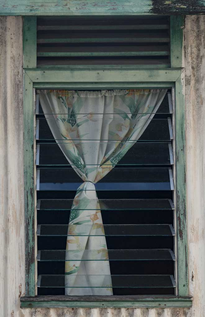 Jalousie Window with Curtain