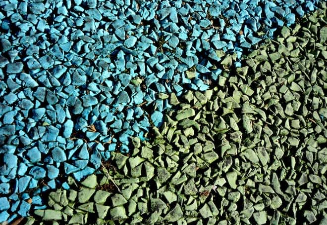Blue and Green Rubber Mulch