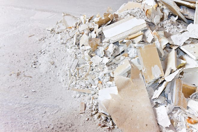 Pile of Demolished Drywall Rubble