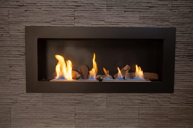 Modern Lit Gel Fireplace