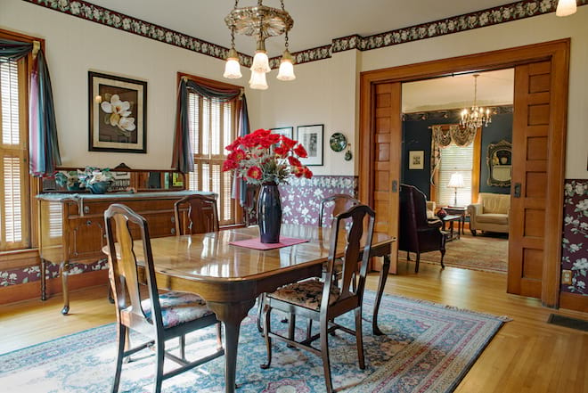 Dining Room with Pocket Doors