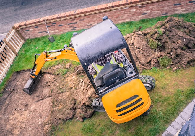 Small Excavator on Lawn