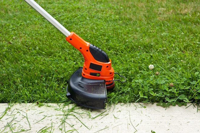 Electric String Trimmer Cutting Grass Along Walkway
