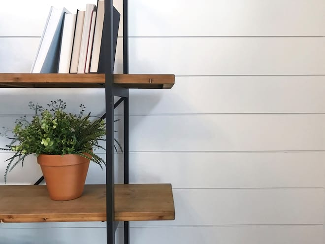 Bookcase in Front of Shiplap Wall