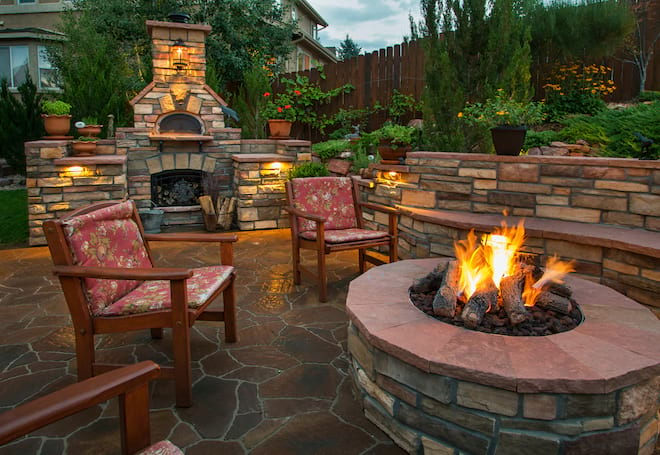 Backyard Fire Pit and Retaining Wall