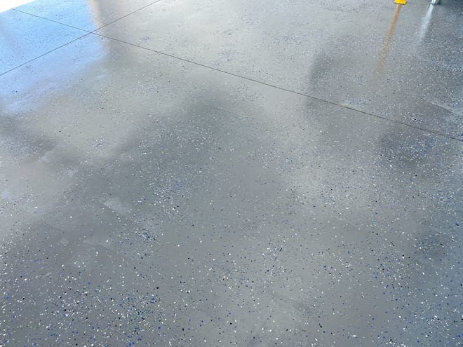 Speckled Epoxy Floor with Plastic Chips