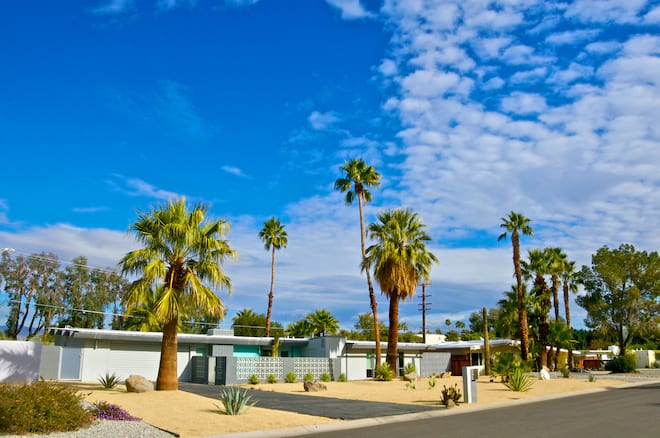 Mid-Century Modern Homes on a Street in Palm Springs, California.