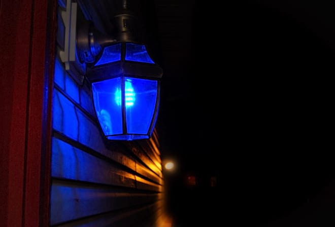 Blue Porch Light in the Evening